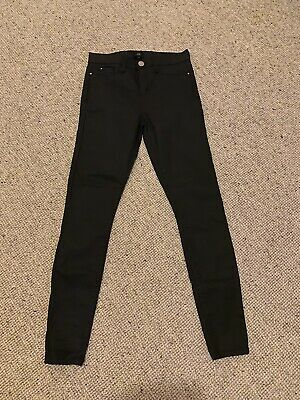 BNWOT Ladies RIVER ISLAND Black Leather Coated Jeans MOLLY UK 8 S 26 X 30 NEW • 9.99£