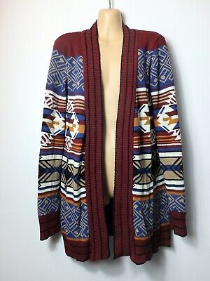 URBAN OUTFITTERS Burgundy,cream& Blue Tribal Open-front Long Cardigan, S/10-12 • 2.99£