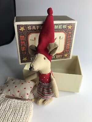 Small Old Christmas Maileg Girl Mouse With Matchbox And Bedding VGC • 21.99£