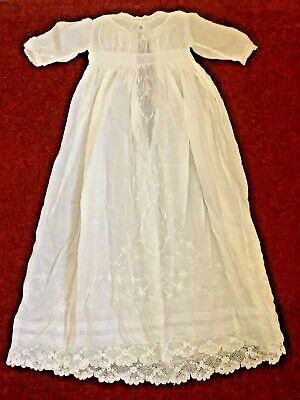 Christening Gown Vintage Embroidered Lace Edging Intricate Detailing At Hem • 15£