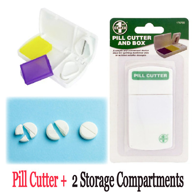 AU6.59 • Buy Pill Cutter Box Tablet Splitter Divider Portable Medicine Organizer Convenient