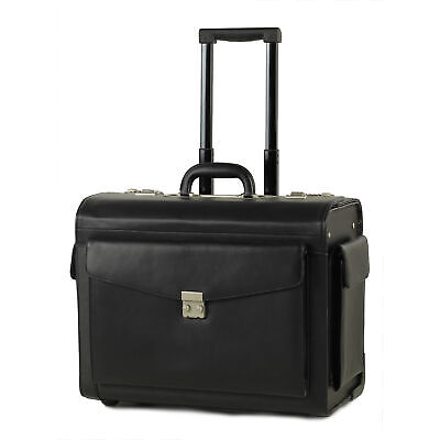 SALE Quindici Luxury Leather Wheeled Pilot Briefcase Business Travel Bag New • 171.43£