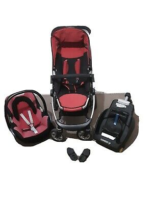 ICANDY Cherry Black And Red Buggy/Pushchair+Maxi Cosi Travel System • 89£
