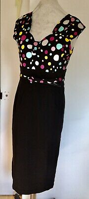 Dress By Bettie Page XL Black Withe Spot Excellent Condition • 14£