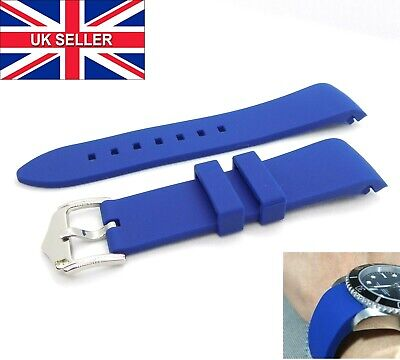 Curved End BLUE Silicone Rubber Watch Strap + Stainless Steel Buckle 20mm 22mm • 7.95£
