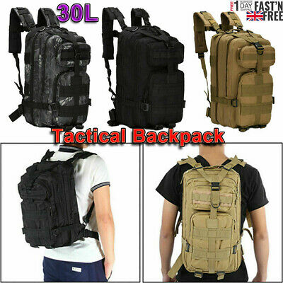 £13.99 • Buy 30L Army Backpack Rucksack Camping Hiking Military Tactical Trekking Bag Outdoor