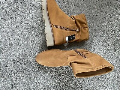 Brown Tan Leather Boots Size 41 / 8 New Slouch Next • 12.50£