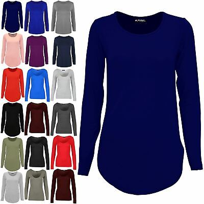 Womens Plain Casual Ladies Long Sleeve Curved Hem Jersey Pullover T-Shirt Top • 3.82£