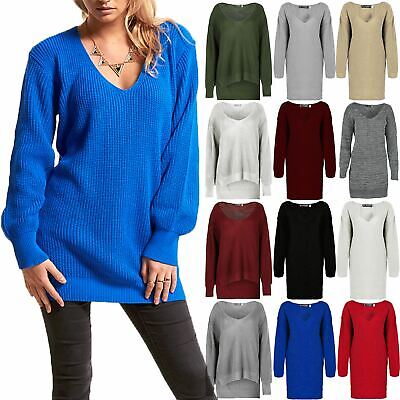 £7.05 • Buy Ladies Womens V Plunge Top Chunky Knit Oversized Long Sweater Baggy Jumper Dress
