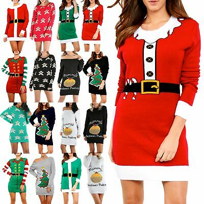 Womens Knitted Christmas Ladies Elf Costume Belted Xmas Oversized Jumper Dress • 9.55£