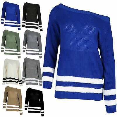 Womens Knitted Off The Shoulder Jumper Loose Ladies Oversized Sports Stripe Top • 5.59£