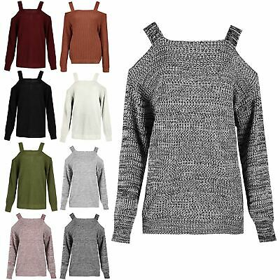 Ladies Womens Knit Cold Cut Shoulder Straps Full Sleeve Baggy Bardot Jumper Top • 10.55£