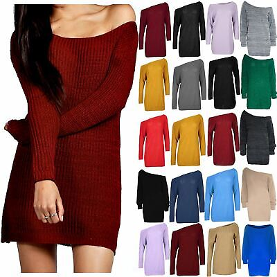 Womens Ladies Knit Chunky Off Shoulder Baggy Oversized Jumper Sweater Mini Dress • 9.55£