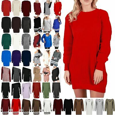 £9.55 • Buy Womens Oversized Baggy Jumper Dress Ladies Chunky Knitted Long Sweater Plus Size