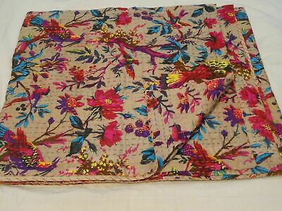 Indian Vintage Bird Print Kantha Quilts Bedspread Single Blankets Cotton Throw • 22.99£