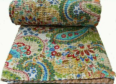 Indian Handmade Quilt Vintage Kantha Bedspread Throw Cotton Blanket Ralli!Gudari • 22.99£