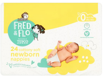 Fred & Flo Newborn Size 0 24x3 Nappies + Free Baby Wipes • 5.99£