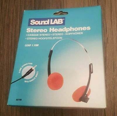 Retro Style Stereo Orange Headphones By Sound Lab 3.5 Mm Jack / 1.15 M Lead • 3£