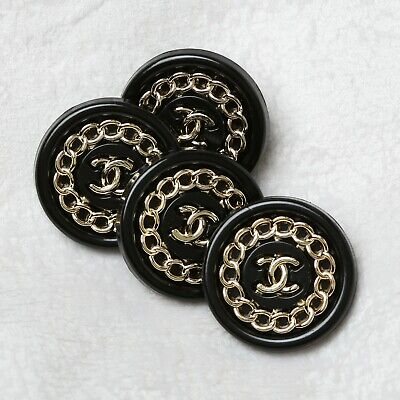 Chanel Buttons 4pc CC Black & Gold 18mm Vintage Style Unstamped AUTH!!! • 28.48£