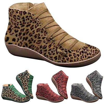 Women Leopard Print Arch Support Ankle Boots Causal Winter Warm Lace Up Shoes • 18.89£