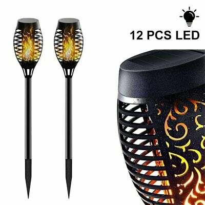 12LEDs WATERPROOF TORCH SOLAR LIGHT PATIO GARDEN DANCING FLICKERING FLAME LAMP • 9.59£