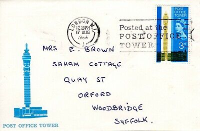 Post Office Tower London 1966 Cover & Stamp Orford Suffolk 97 • 1.25£