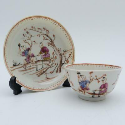 Chinese Famille Rose Mandarin Pattern Porcelain Tea Bowl And Saucer 18th Century • 79.99£