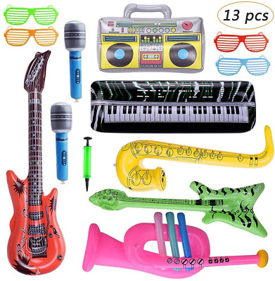 Bebester Inflatable Instruments, 13PCS Inflatable Rock Star Toy Set Inflatable • 15.69£