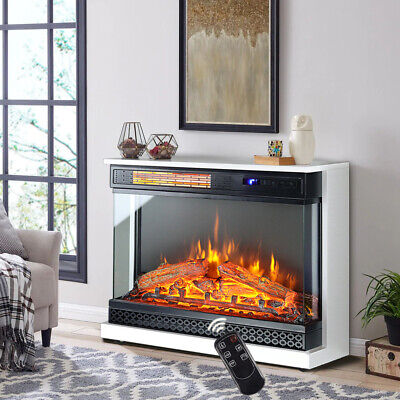 £199.95 • Buy Large Fireplace Heater Electric Free Standing Fire Place MDF Surround With Wheel