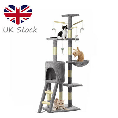 Cat Tree Tower Condo Climbing Scratching Kitten 3-Level House Cats Play Toy   • 31.90£