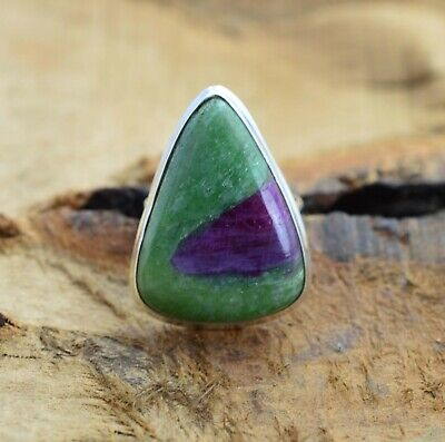 Ruby Zoisite 925 Sterling Silver Gemstone Ring Size US- 7/ UK- N • 21.99£
