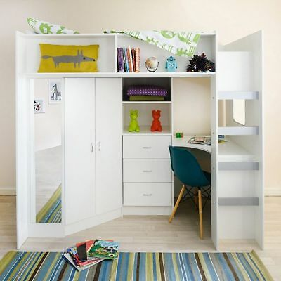 £599 • Buy Stamford High Sleeper Cabin Bed With Mirror Desk Wardrobe Drawers White R0860W