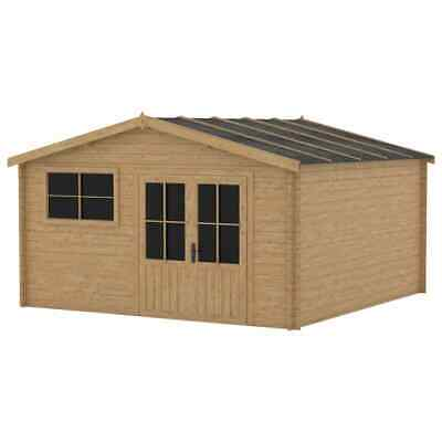 VidaXL Log Cabin With Window 28mm 400x400cm Wood Garden House Timber Shed • 1,973.99£
