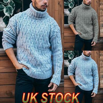 Men's Casual Jumpers Slim-fit Knitted High Roll Turtle Neck Pullover Sweater Top • 18.29£