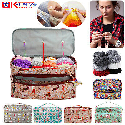 Knitting Storage Bag Wool Tote Crochet Hook Needles Accessories Organizer Holder • 11.99£