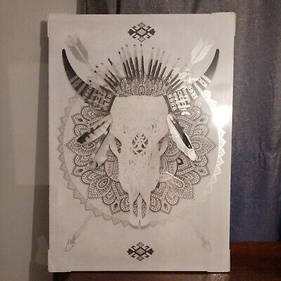 110X80 Tribal Animal Skull Canvas Picture. • 20£