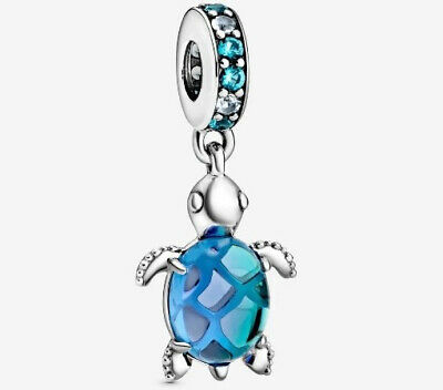 £14.99 • Buy Authentic S925 Sterling Silver Murano Glass Sea Turtle Dangle Charm With Pouch
