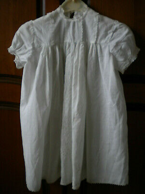 Vintage Christening Gown Dress Cream Cotton, Lace Trimmings, Broderie Anglaise • 8£