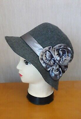 Ladies Grey Bucket Cloche Hat With Ribbon And Flower Trim • 2£