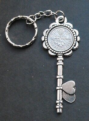 1955 65th Birthday Lucky Sixpence Key Keyring Retirement Gift Box Vintage Coin • 2.95£