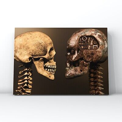 Surreal & Abstract Canvas Wall Art - Human Skull Vs Metal Robotic Skull • 13.99£