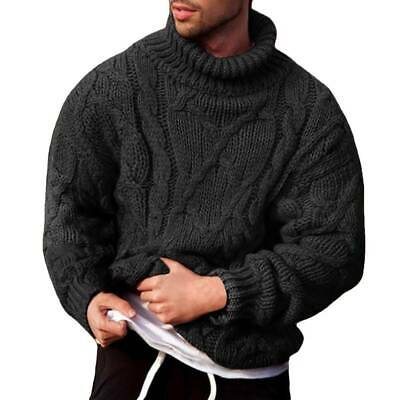Men Chunky Cable Knitted Jumper Roll Turtle Neck Sweater Pullover Winter Tops • 18.49£