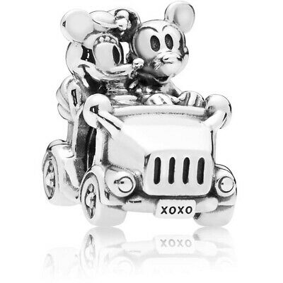 Authentic S925 Sterling Silver Mickey And Minnie Vintage Car Charm With Pouch • 14.99£