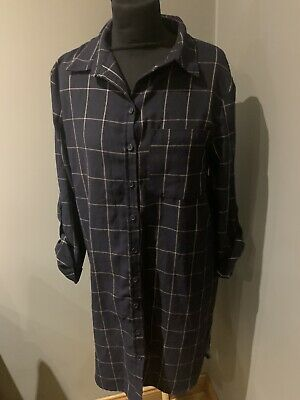 Womans Gorgeous Navy Blue Checked Shirt Dress Size 12 Great Condition  • 3.99£