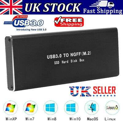 Hard Disk Case M.2 B-Key To USB 3.0 Adapter SSD Mobile External Enclosure Box • 9.68£