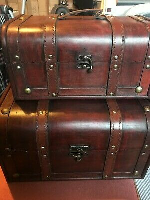 Wooden/Leather Chest 2 Pcs Rustic Dark Wooden Chest Colonial Style Vintage Trunk • 29.99£