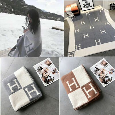Hot H Blanket Artificial Wool Cashmere Warm Throw Sofa Plaid Blanket Shaw Cassic • 23.99£