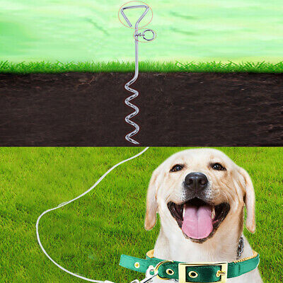 Spiral Anchor Cork Screw Dog Tie Out Stake Lead Chain Outdoor Camp Sqi4 • 7.67£