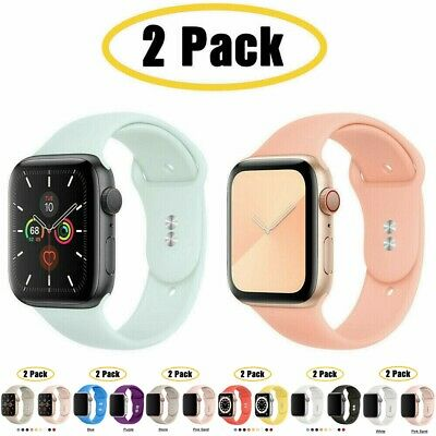 AU11.99 • Buy 2 PACK Silicone Sport Band IWatch Strap For Apple Watch 6 5 4 3 2 SE 38 40 44mm