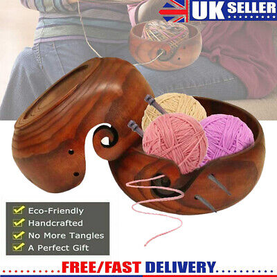 Wooden Yarn Bowl Holder Knitting Crochet Yarn Wool Storage Container Without Lid • 12.79£